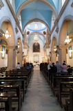 DAMASCUS, SYRIA - NOVEMBER 16, 2010: People in Mariamite Cathedral of Damascus.Church is one of oldest Greek Orthodox churches in Stock Photos