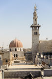 DAMASCUS, SYRIA - NOVEMBER 16, 2012: Umayyad Mosque minaret from Al-Hamidiyah Souq in the old city of Damascus. The Minaret of Qai Royalty Free Stock Photo