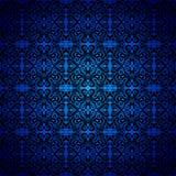 Damascus, zwart naadloos blauw patroon, neoclassic royalty-vrije stock afbeeldingen
