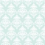 Damask άνευ ραφής υπόβαθρο σχεδίων Μπλε και λευκό κρητιδογραφιών Τρύγος Για το γαμήλιο σχέδιο Στοκ Εικόνα