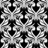 Damask κεντητικής άνευ ραφής σχέδιο Διανυσματική γραπτή floral διακόσμηση ταπήτων E Κεντημένος τρύγος απεικόνιση αποθεμάτων