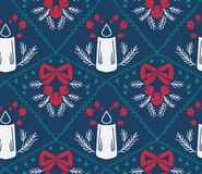 Damask κεριών Χριστουγέννων διανυσματικό άνευ ραφής μπλε σχεδίων ελεύθερη απεικόνιση δικαιώματος