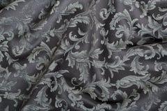Damask, κυματιστό μαύρο υπόβαθρο σύστασης ταπήτων Στοκ Φωτογραφία
