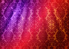 Damask fabric drape. Luxury wallpaper in the style of Baroque. Yellow grunge texture vector background with floral ornament. Damask fabric drape. Luxury stock illustration