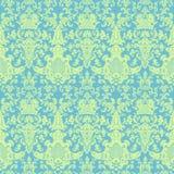 μπλε damask πράσινος βικτοριανός τρύγος προτύπων Στοκ εικόνα με δικαίωμα ελεύθερης χρήσης