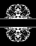Damask banner white black Royalty Free Stock Photo