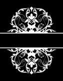 Damask banner white black royalty free stock photo