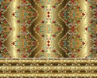 Damask Baroque gold 3d seamless pattern and border. royalty free illustration
