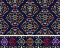 Damask Baroque seamless pattern and border. Set. stock illustration