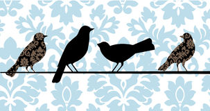 Damask Birds Blue. Birds on a wire - two with damask pattern Stock Photography
