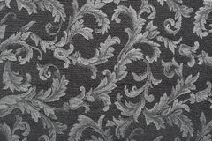 Damask, black fabric texture background Royalty Free Stock Images
