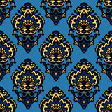 Damask blue flower seamless patter vector Royalty Free Stock Photo
