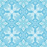 Damask blue seamless tiled pattern Stock Photos