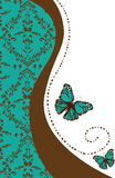 Damask and butterfly. This is an illustration of a butterfly with a damask background Royalty Free Stock Images
