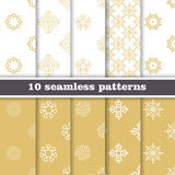 Damask elegant wallpaper. Set of seamless vector background. Grey and golden colors. Textile design. Royalty Free Stock Photo