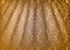 Damask fabric drape. Luxury wallpaper in the style of Baroque. Yellow grunge texture vector background with floral ornament. Graphic pattern for fabric stock illustration
