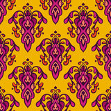 Damask festive yellow abstract seamless pattern. Damask vector festive yellow abstract seamless pattern Stock Photos