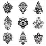 Damask floral designs vintage vector set Royalty Free Stock Photo
