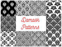 Damask floral ornament seamless pattern set Royalty Free Stock Images