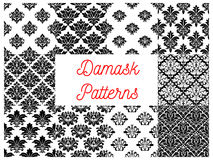 Damask floral ornate patterns set. Vector seamless pattern of luxurious floral decorative elements. Design of baroque, classic,royal, luxury damask interior Royalty Free Stock Photography