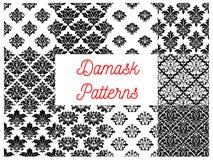 Damask floral ornate patterns set Royalty Free Stock Photography