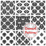 Damask floral ornate seamless patterns set. Damask patterns of floral ornate embellishment. Luxury flowery backdrops and flourish ornamental tiles. Baroque or Royalty Free Stock Photography