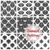Damask floral ornate seamless patterns set Royalty Free Stock Photography