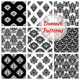 Damask floral ornate seamless patterns set. Damask patterns of luxury flowery backdrops and flourish ornate ornament tiles and baroque background with rococo Stock Image