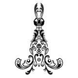 Damask floral pattern with arabesque, oriental ornament. Abstract traditional decor for backgrounds. Black and white colors, monoc Stock Images