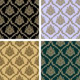 Damask floral repeat Pattern - set in four Variants Royalty Free Stock Photos