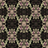 Damask floral seamless pattern with arabesque, multicolor oriental ornament. Abstract traditional decor for backgrounds with natural motifs, wallpaper, fabric Royalty Free Stock Photography