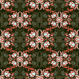 Damask floral seamless pattern with arabesque, multicolor oriental ornament. Abstract traditional decor for backgrounds  natural m Royalty Free Stock Image