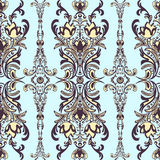 Damask floral seamless pattern with arabesque, multicolor oriental ornament. Abstract traditional decor for backgrounds  natural m. Damask floral seamless Stock Image