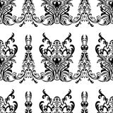 Damask floral seamless pattern with arabesque, oriental ornament. Abstract traditional decor for backgrounds, wallpaper, fabric de. Sign, decoration. Black and Stock Image