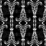 Damask floral seamless pattern with arabesque, oriental ornament. Abstract traditional decor for backgrounds, wallpaper, fabric de. Sign, decoration. Black and Stock Photo