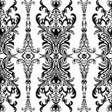 Damask floral seamless pattern with arabesque, oriental ornament. Abstract traditional decor for backgrounds, wallpaper, fabric de. Sign, decoration. Black and Royalty Free Stock Photos