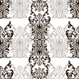 Damask floral seamless pattern with arabesque, oriental ornament. Abstract traditional decor for backgrounds, wallpaper, fabric de. Sign, decoration. Black and Royalty Free Stock Image