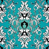 Damask floral seamless pattern. Light blue background wallpaper Stock Image