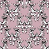 Damask floral seamless pattern. Light pink background wallpaper. With black white scroll swirl leaves, damask flowers and antique Baroque ornaments. Vintage stock illustration