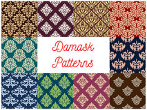 Damask floral seamless patterns set Stock Photography