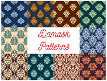 Damask floral seamless patterns set. Damask patterns. Drapery and tracery luxury backdrops. Flowery ornate ornament tiles. Vector seamless background with floral Royalty Free Stock Photo
