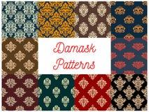 Damask floral seamless patterns set. Damask patterns set. Vector seamless background of floral ornate motif. Flourish flowery decor tiles set of baroque Royalty Free Stock Photo