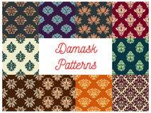 Damask floral seamless patterns set. Damask patterns set. Vector floral backgrounds of flowery ornate motif. Flourish seamless tiles Royalty Free Stock Image
