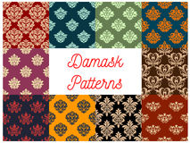Damask floral vector pattern set, flowery ornament Stock Photo