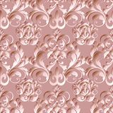Damask floral vector seamless pattern. Light pink ornate floral. Background with 3d flowers, scroll leaves and antique decorative vintage ornaments. Luxury stock illustration