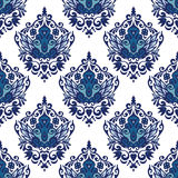 Damask flourish flower seamless pattern blue and white Stock Images
