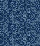 Damask flower motif sashiko stitch pattern. Japanese needlework seamless vector background. Hand drawn texture for textile print. Damask motif sashiko stitch vector illustration