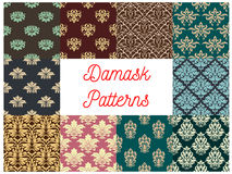 Damask flowery ornate seamless patterns set. Damask patterns. Luxury flowery backdrops and ornate ornament tiles. Flourish baroque background with rococo design Stock Image