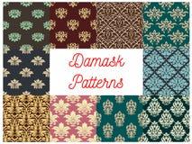 Damask flowery ornate seamless patterns set Stock Image