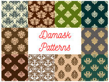 Damask flowery ornate seamless patterns set. Damask patterns. Vector ornate floral embellishment tracery motif. Luxury backdrops of flowery ornate ornament tiles vector illustration